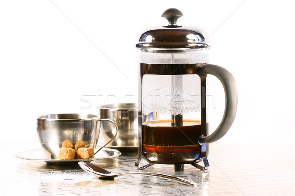 Coffee cups with french press Stock photo © Sandralise
