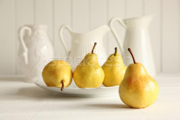 Foto stock: Fresco · peras · mesa · de · madeira · maduro · madeira · fruto