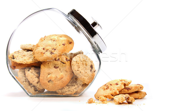 Verre jar cookies blanche alimentaire chocolat Photo stock © Sandralise