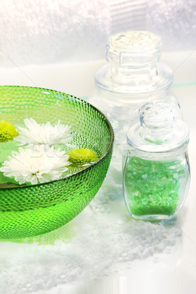 Green water bowl and sea salts Stock photo © Sandralise