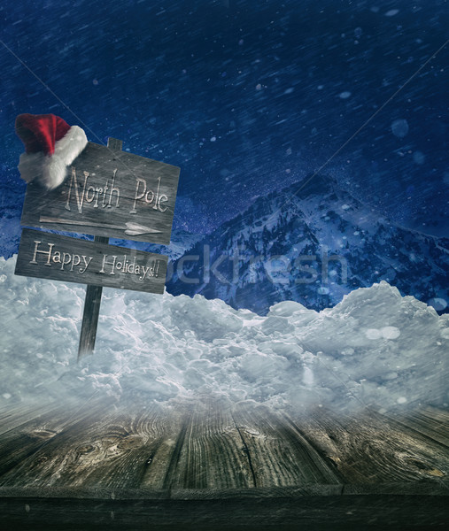 Christmas holiday background with sign post Stock photo © Sandralise