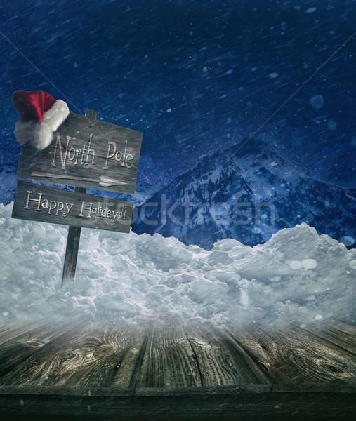 Noel tatil imzalamak gönderemezsiniz şapka Stok fotoğraf © Sandralise