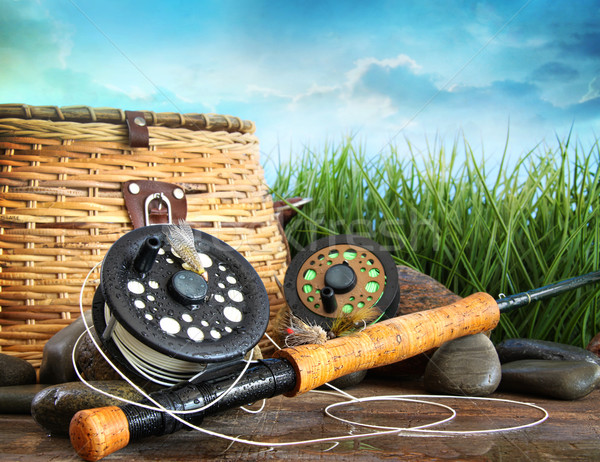 Flly fishing equipment and basket  Stock photo © Sandralise