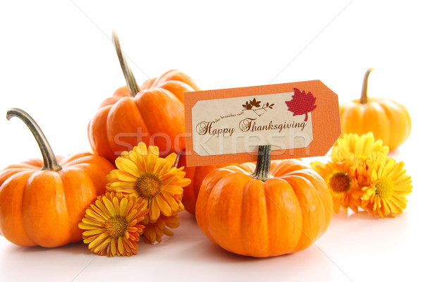 Small pumpkins with chrysanthemums and card Stock photo © Sandralise