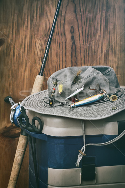 Hat with fishing equipment  Stock photo © Sandralise