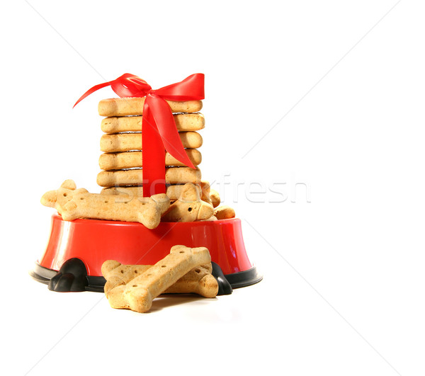 Chien biscuits bol rouge arc design Photo stock © Sandralise