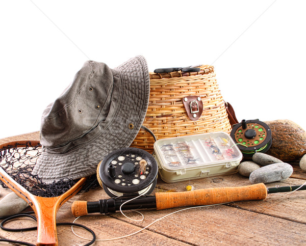Stock photo: Fly fishing equipment on white