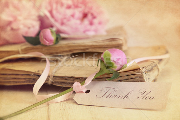 Peony flowers with vintage papers and gift card Stock photo © Sandralise