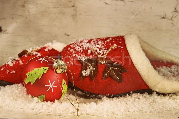 Christmas slippers ornament sneeuw huis home Stockfoto © Sandralise