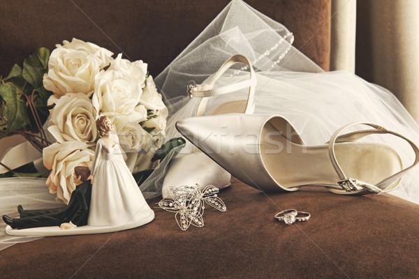 Сток-фото: букет · белый · роз · свадьба · обувь · Председатель