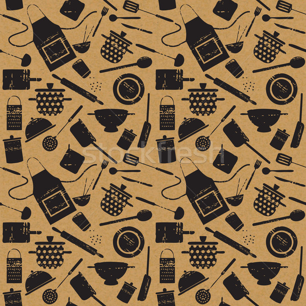 Seamless pattern with scratched cooking related silhouettes on paper textured background Stock photo © sanjanovakovic