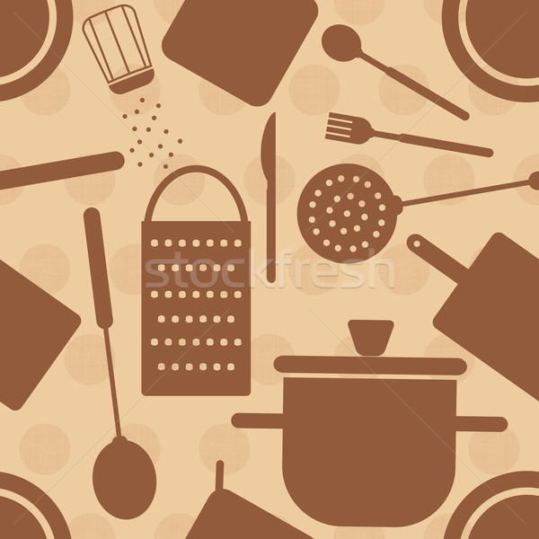 Beżowy retro gotowania symbolika kropkowany Zdjęcia stock © sanjanovakovic