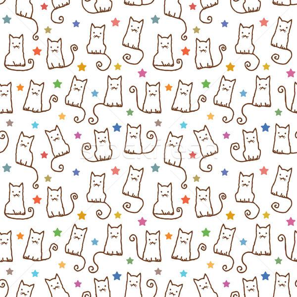 Kézzel rajzolt vektor végtelen minta macskák macska Stock fotó © sanjanovakovic