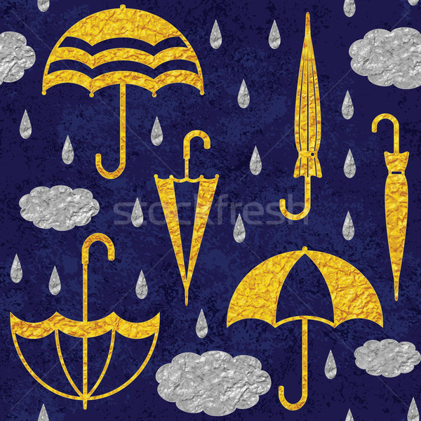 Golden umbrellas and silver clouds and raindrops on dark blue sky vector seamless pattern background Stock photo © sanjanovakovic