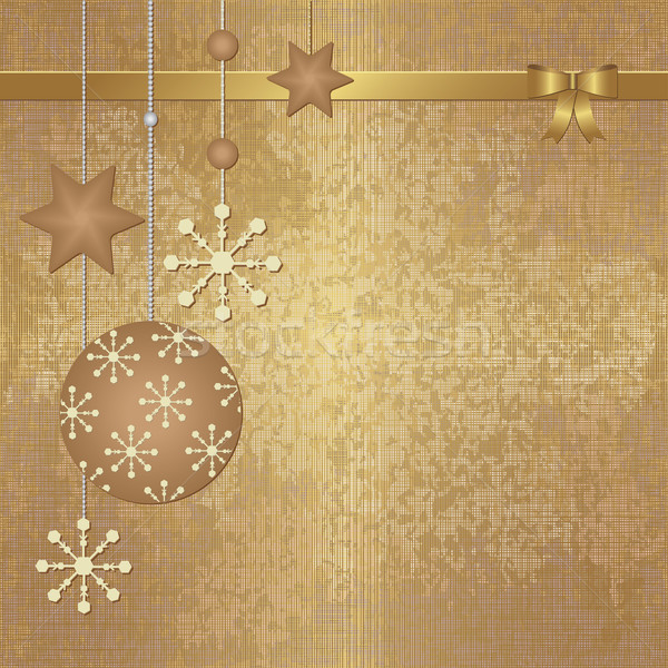 Golden Christmas background with terracotta ornaments Stock photo © sanjanovakovic