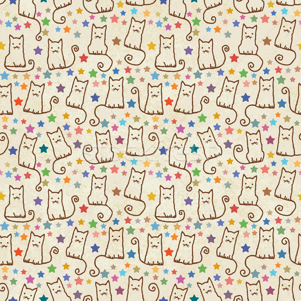 Stock photo: Vintage hand drawn vector seamless pattern with cats and stars