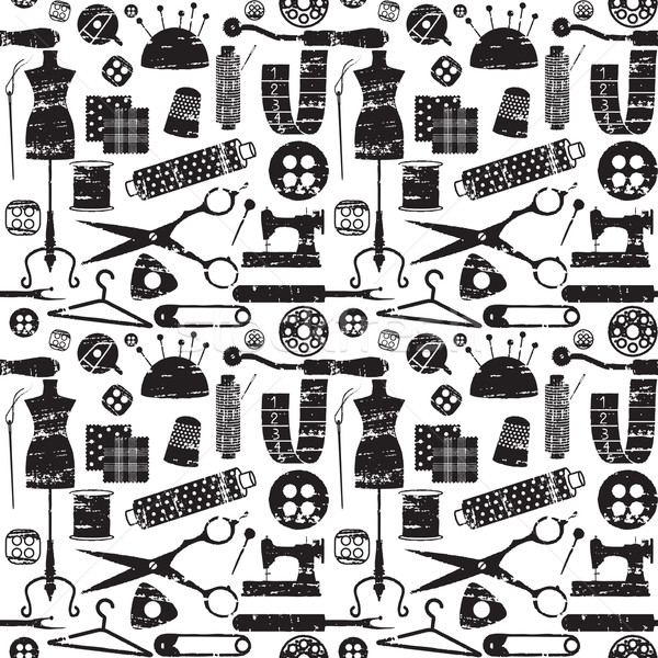 seamless pattern with scratched sewing related symbols Stock photo © sanjanovakovic