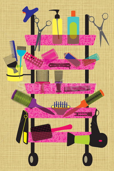 Colorful hairdresser accessories on textured background Stock photo © sanjanovakovic