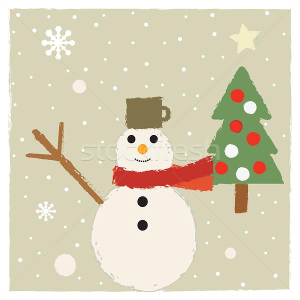 Sevimli Retro kış Noel tebrik kartı kar Stok fotoğraf © sanjanovakovic