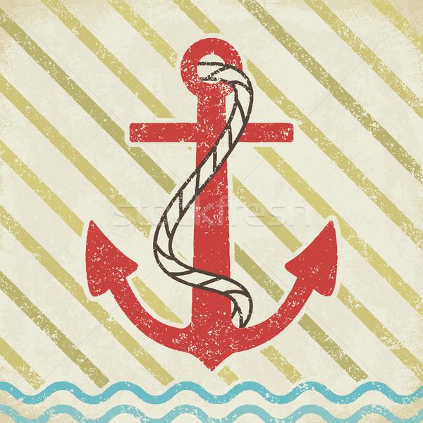 Anchor on grunge background vintage vector illustration 3 Stock photo © sanjanovakovic