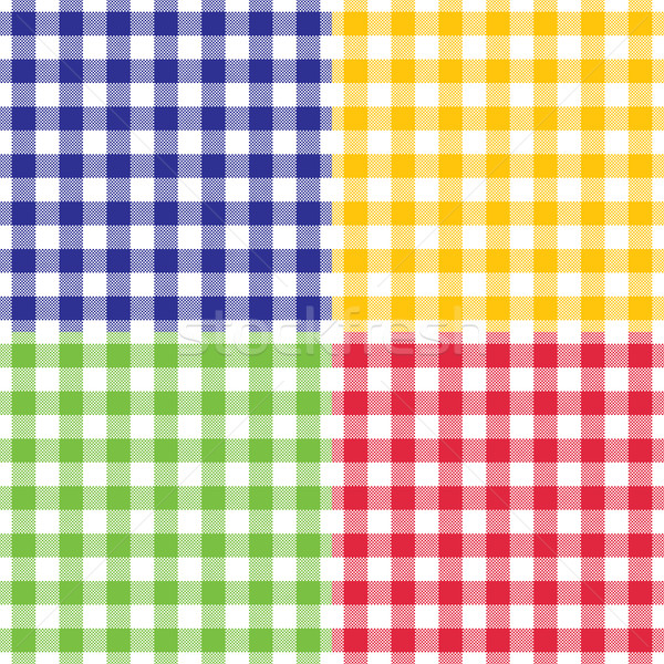 Plaid vector gingham seamless pattern in four different bright colors Stock photo © sanjanovakovic