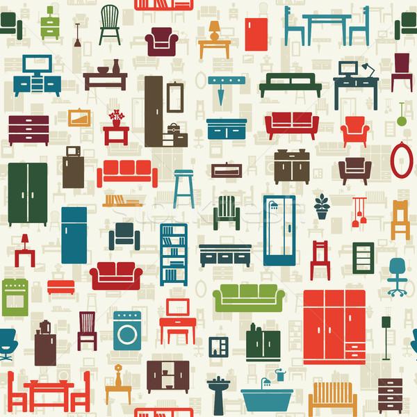 Photo stock: Vecteur · maison · meubles · icônes · cuisine