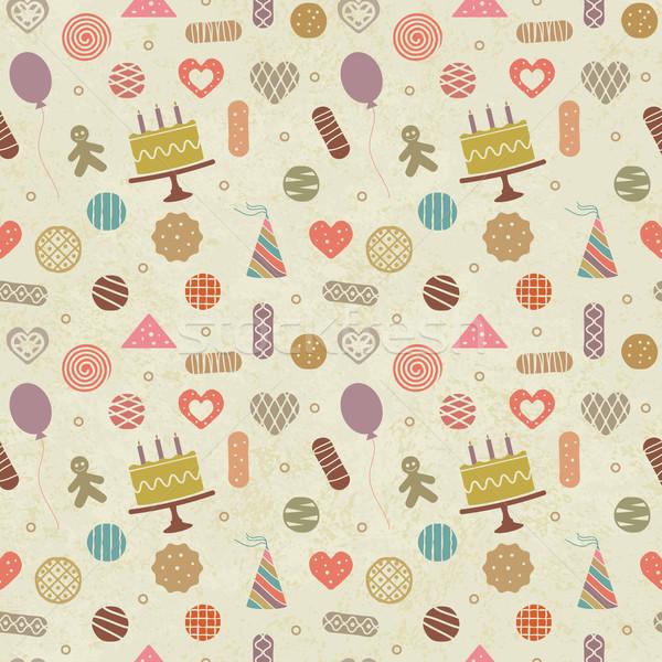 Vintage birthday themed seamless pattern background Stock photo © sanjanovakovic