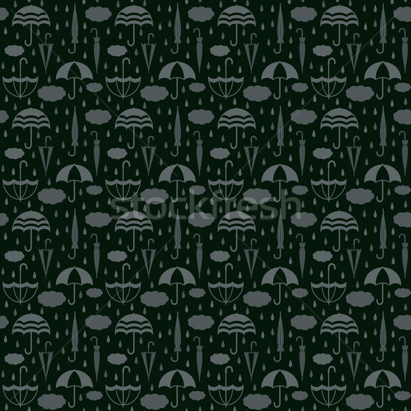 Umbrellas with clouds and raindrops vector seamless pattern background 6 Stock photo © sanjanovakovic