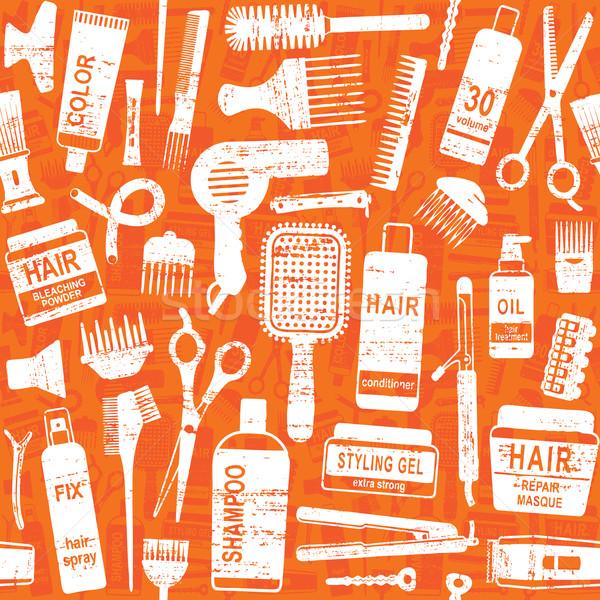 Hair styling related vector seamless pattern background 3 Stock photo © sanjanovakovic