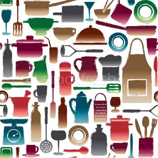 Stok fotoğraf: Mutfak · siluet · simgeler · gıda · dizayn