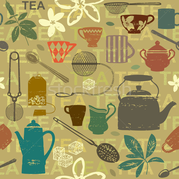 Seamless pattern with scratched tea related symbols and letters 2   Stock photo © sanjanovakovic