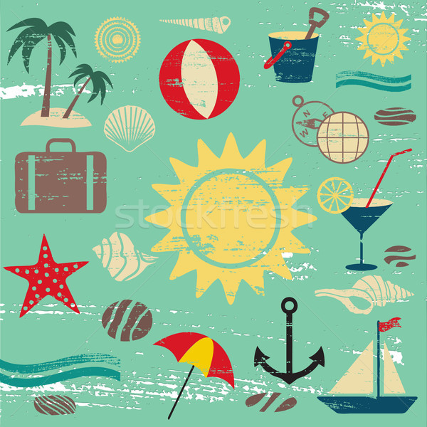 Scratched summer and sea related icons on blue textured background Stock photo © sanjanovakovic