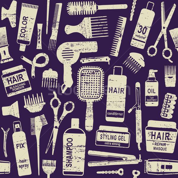 Hair styling related vector seamless pattern background 1 Stock photo © sanjanovakovic