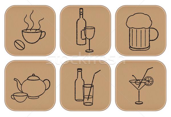 Restoran içkiler işaretleri simgeler karton Stok fotoğraf © sanjanovakovic