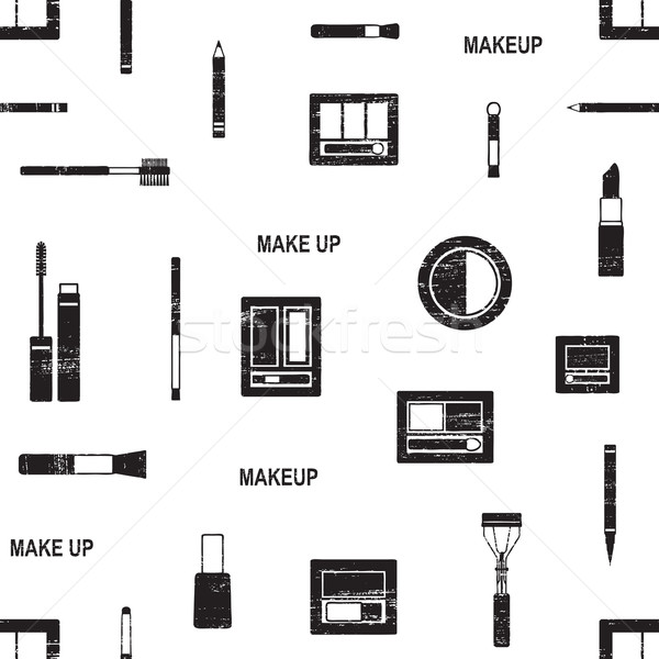 Scratched vector seamless pattern with makeup objects Stock photo © sanjanovakovic