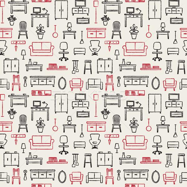 Сток-фото: вектора · рисованной · домой · мебель