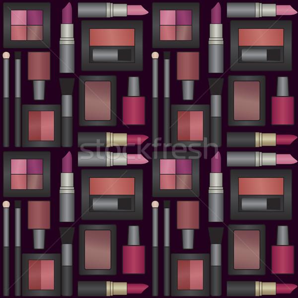 Vector seamless pattern background with makeup objects 2 Stock photo © sanjanovakovic