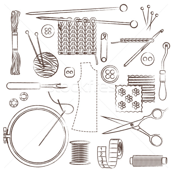 Hand drawn sewing and needlework related symbols Stock photo © sanjanovakovic