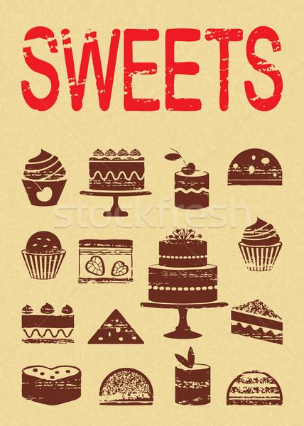 epocă poster prăjituri dulciuri vechi de hârtie