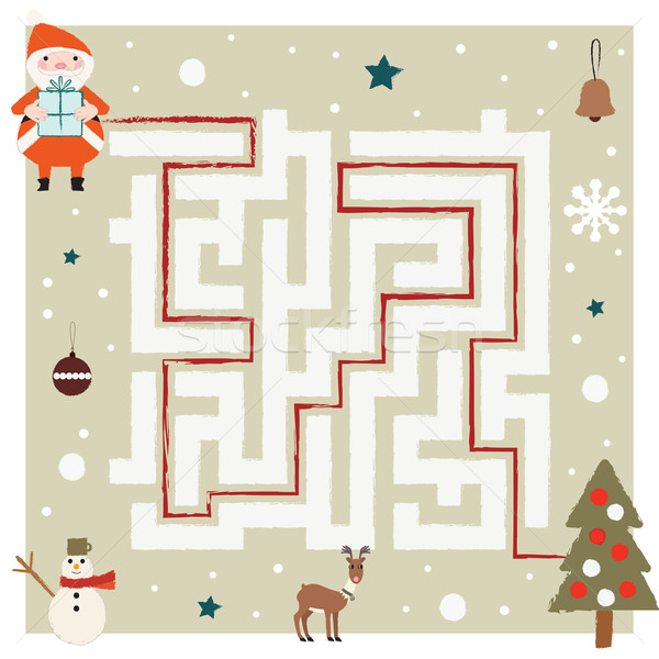 Santa Claus comes to gifts through the maze Stock photo © sanjanovakovic
