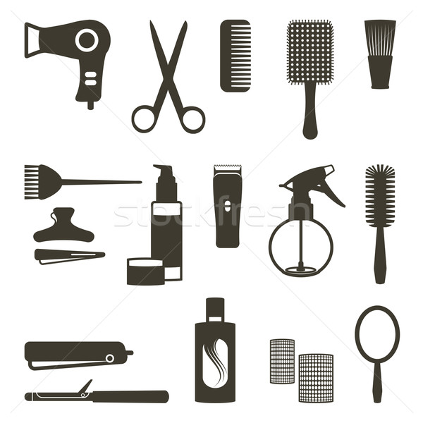 Hairdressing related objects silhouette set Stock photo © sanjanovakovic