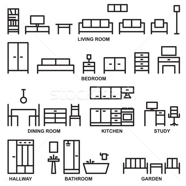 Сток-фото: вектора · мебель · иконки · дома