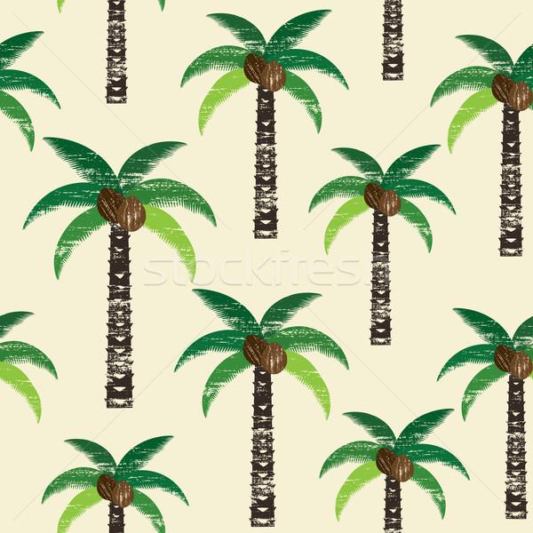 Palmiye ağaçları vektör bitki bağbozumu Stok fotoğraf © sanjanovakovic