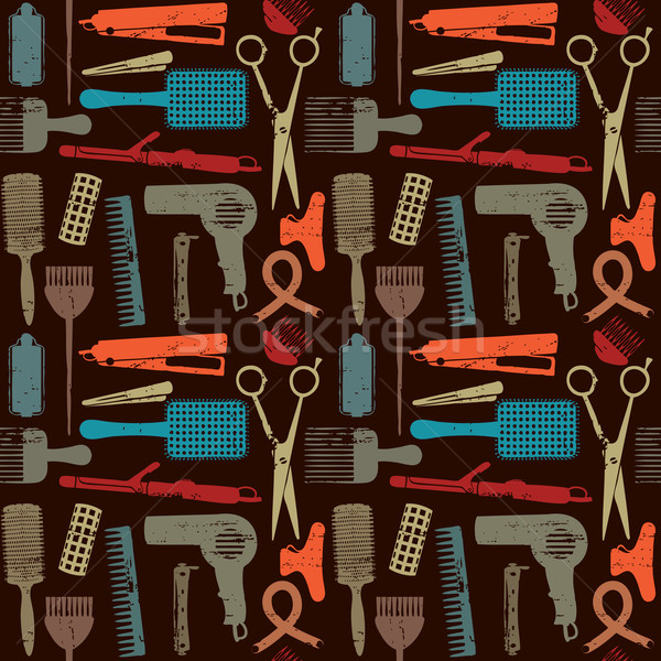 Scratched retro hair styling related seamless pattern 3 Stock photo © sanjanovakovic