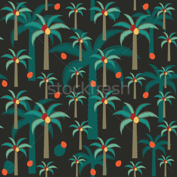 Foto stock: Decorativo · palmeras · vector · oscuro