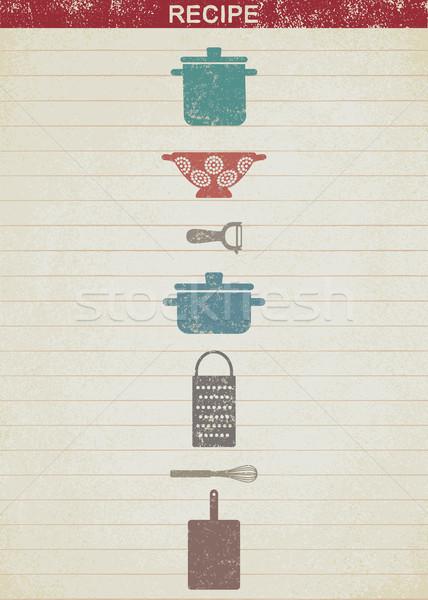 Bağbozumu pişirme yemek tarifleri Eski kağıt arka plan mutfak Stok fotoğraf © sanjanovakovic