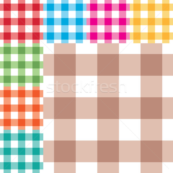 Gingham seamless pattern in eight different colors Stock photo © sanjanovakovic