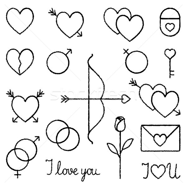 Stock photo: Romantic love vector hand drawn outline icons set 2