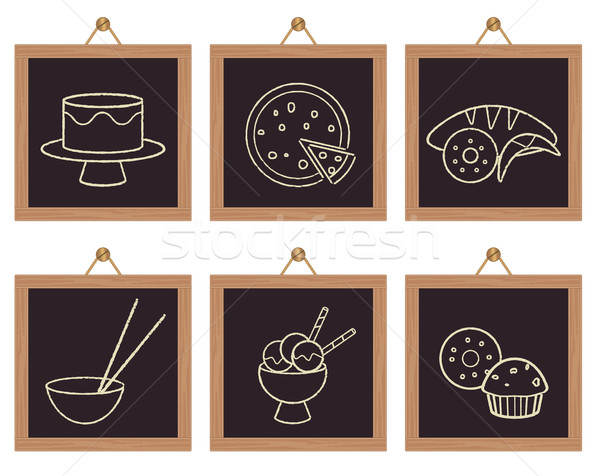 Restaurant food and dessert signs on black framed background Stock photo © sanjanovakovic