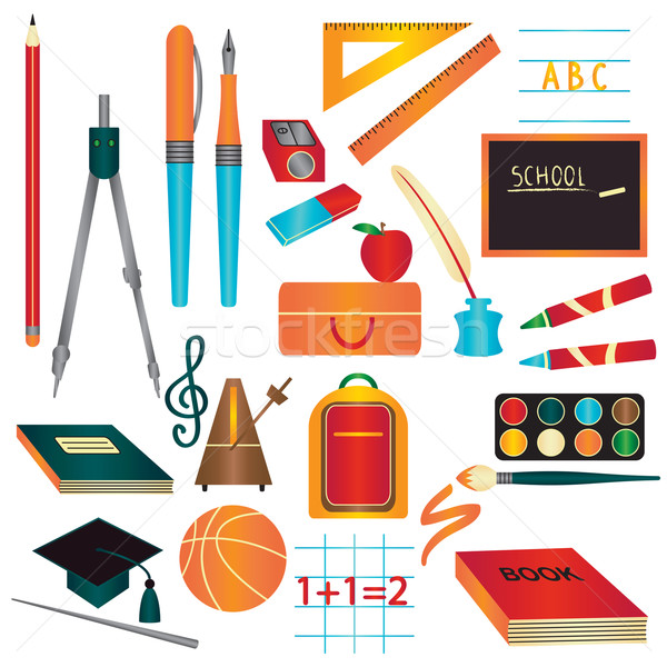Colorful school supplies design element set Stock photo © sanjanovakovic